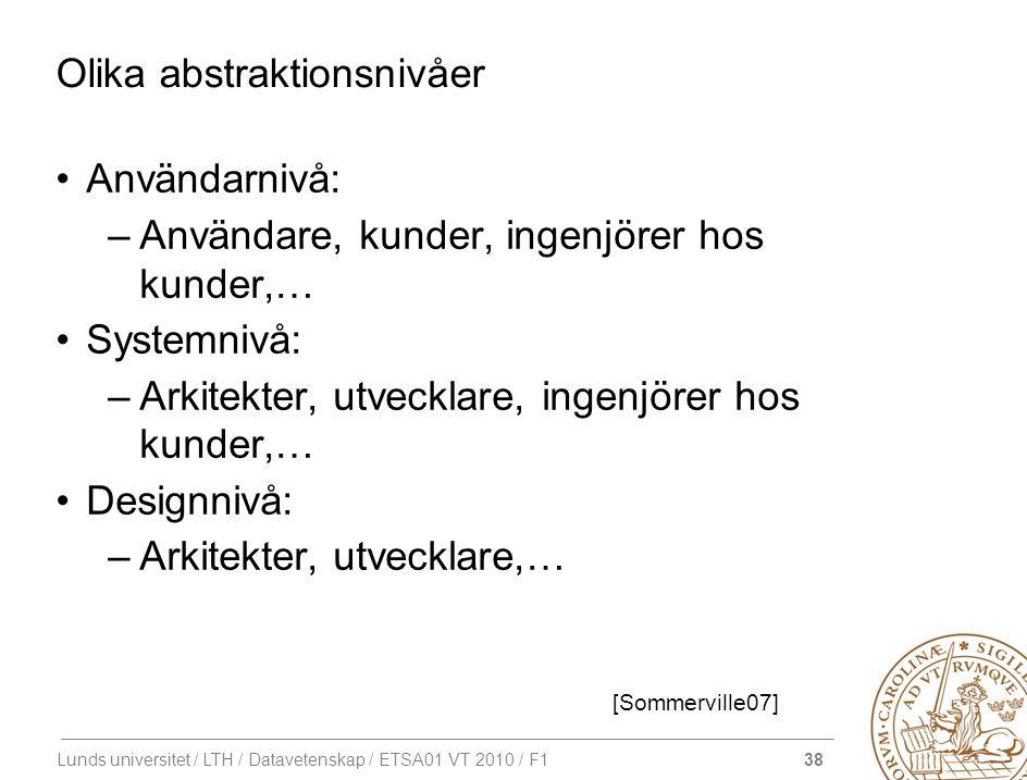 38 Lunds universitet / LTH / Datavetenskap / ETSA01 VT 2010 / F1 Olika abstraktionsnivåer Användarnivå: –Användare, kunder, ingenjörer hos kunder,… Sy