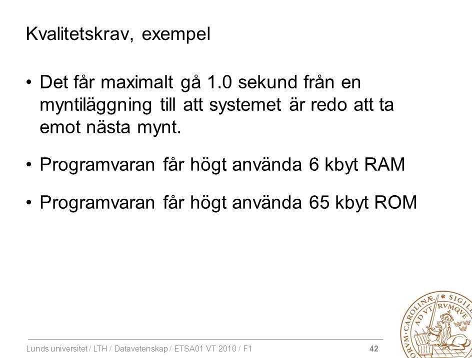 42 Lunds universitet / LTH / Datavetenskap / ETSA01 VT 2010 / F1 Kvalitetskrav, exempel Det får maximalt gå 1.0 sekund från en myntiläggning till att