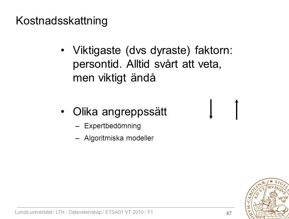 47 Lunds universitet / LTH / Datavetenskap / ETSA01 VT 2010 / F1 Kostnadsskattning Viktigaste (dvs dyraste) faktorn: persontid. Alltid svårt att veta,