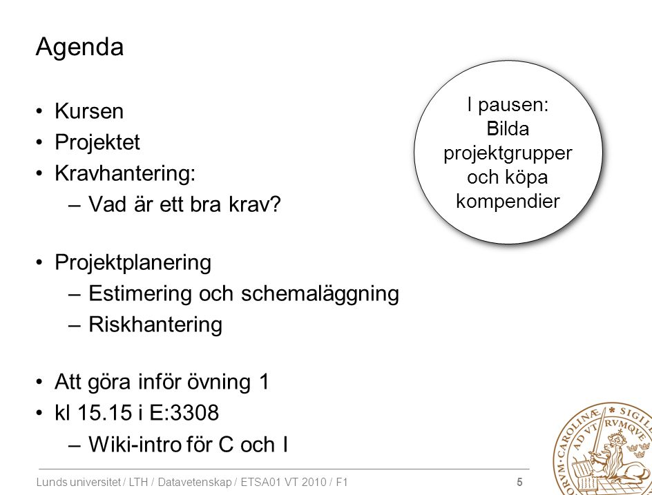 36 Lunds universitet / LTH / Datavetenskap / ETSA01 VT 2010 / F1 Standish Group Survey Chaos Report (1994) Top 10 Challenges 1.