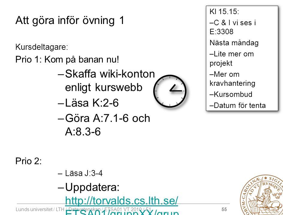 55 Lunds universitet / LTH / Datavetenskap / ETSA01 VT 2010 / F1 Att göra inför övning 1 Kursdeltagare: Prio 1: Kom på banan nu! –Skaffa wiki-konton e