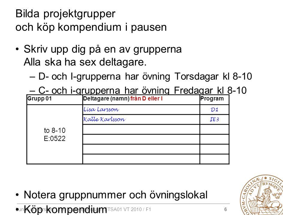 6 Lunds universitet / LTH / Datavetenskap / ETSA01 VT 2010 / F1 Bilda projektgrupper och köp kompendium i pausen Skriv upp dig på en av grupperna Alla