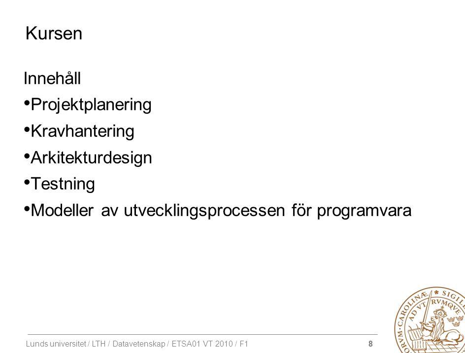 8 Lunds universitet / LTH / Datavetenskap / ETSA01 VT 2010 / F1 Kursen Innehåll Projektplanering Kravhantering Arkitekturdesign Testning Modeller av u