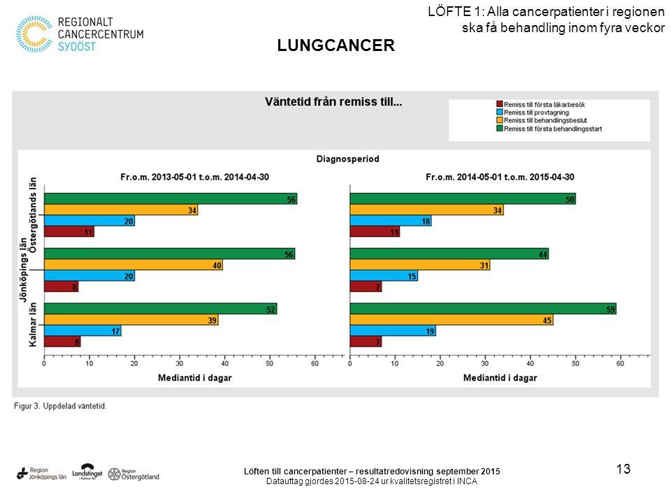 13 LÖFTE 1: Alla cancerpatienter i regionen ska få behandling inom fyra veckor LUNGCANCER Löften till cancerpatienter – resultatredovisning september 2015 Datauttag gjordes 2015-08-24 ur kvalitetsregistret i INCA