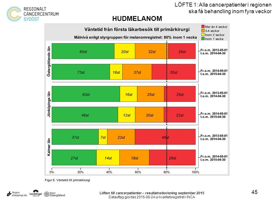 45 LÖFTE 1: Alla cancerpatienter i regionen ska få behandling inom fyra veckor HUDMELANOM Löften till cancerpatienter – resultatredovisning september 2015 Datauttag gjordes 2015-08-24 ur kvalitetsregistret i INCA