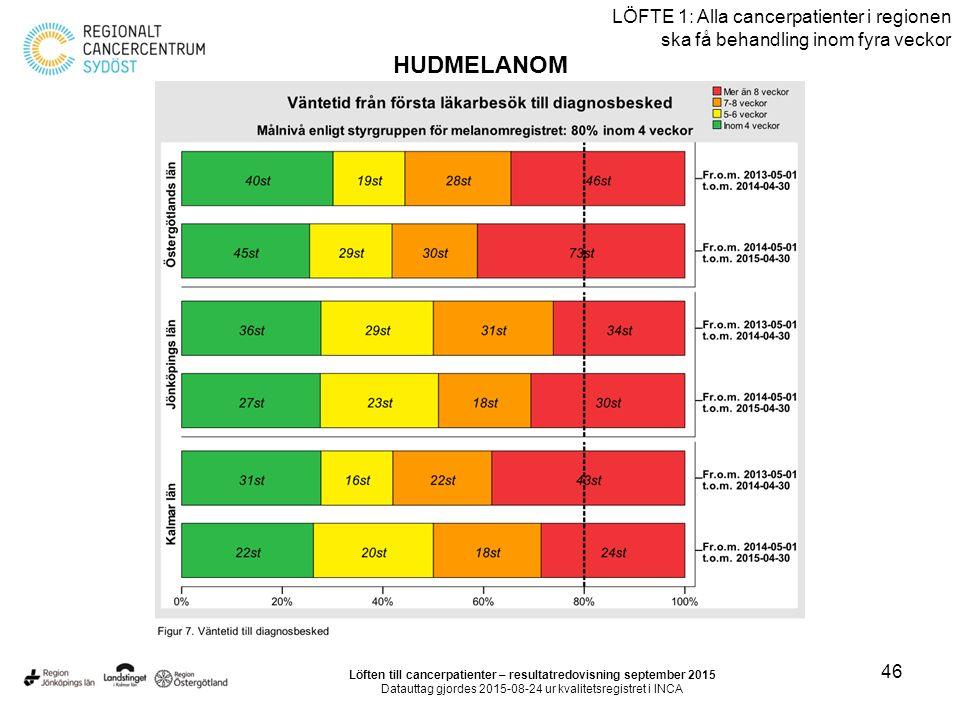 46 LÖFTE 1: Alla cancerpatienter i regionen ska få behandling inom fyra veckor HUDMELANOM Löften till cancerpatienter – resultatredovisning september 2015 Datauttag gjordes 2015-08-24 ur kvalitetsregistret i INCA