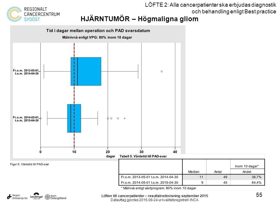 55 LÖFTE 2: Alla cancerpatienter ska erbjudas diagnostik och behandling enligt Best practice HJÄRNTUMÖR – Högmaligna gliom Löften till cancerpatienter – resultatredovisning september 2015 Datauttag gjordes 2015-08-24 ur kvalitetsregistret i INCA