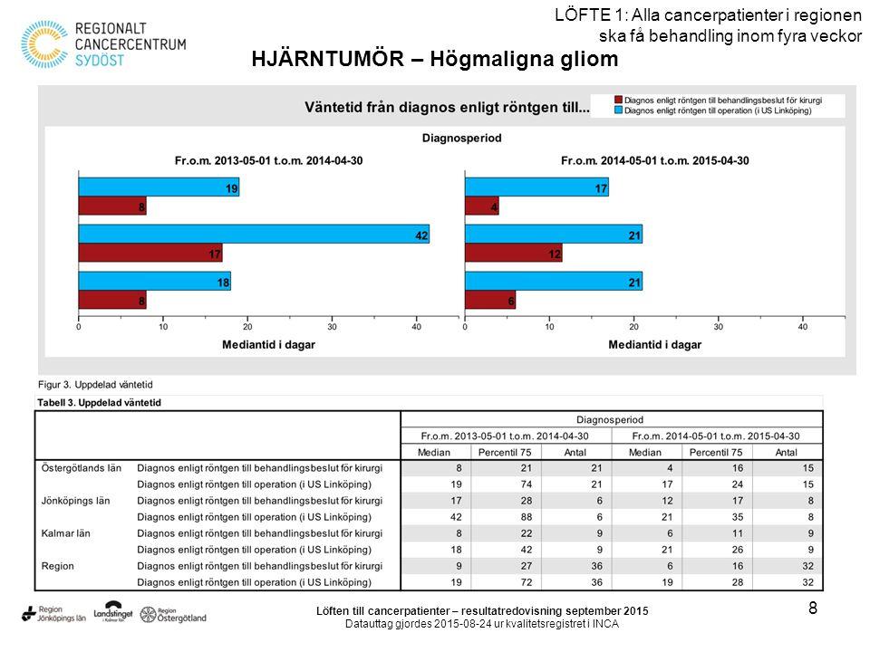 8 LÖFTE 1: Alla cancerpatienter i regionen ska få behandling inom fyra veckor HJÄRNTUMÖR – Högmaligna gliom Löften till cancerpatienter – resultatredovisning september 2015 Datauttag gjordes 2015-08-24 ur kvalitetsregistret i INCA