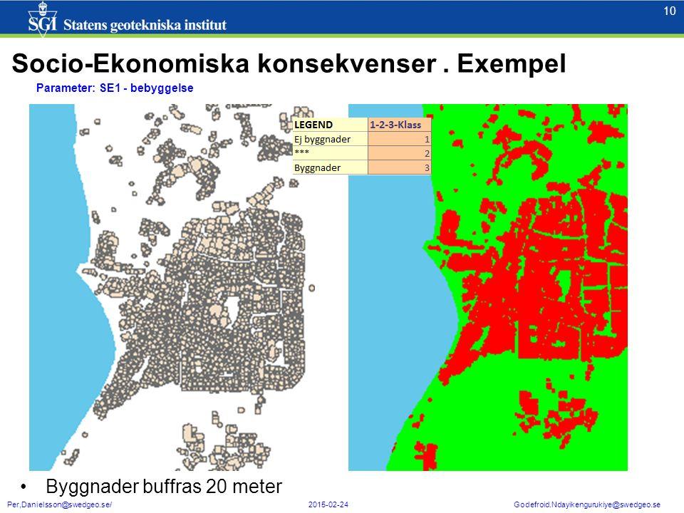 10 Per,Danielsson@swedgeo.se/ 2015-02-24 Godefroid.Ndayikengurukiye@swedgeo.se Parameter: SE1 - bebyggelse Byggnader buffras 20 meter Socio-Ekonomiska