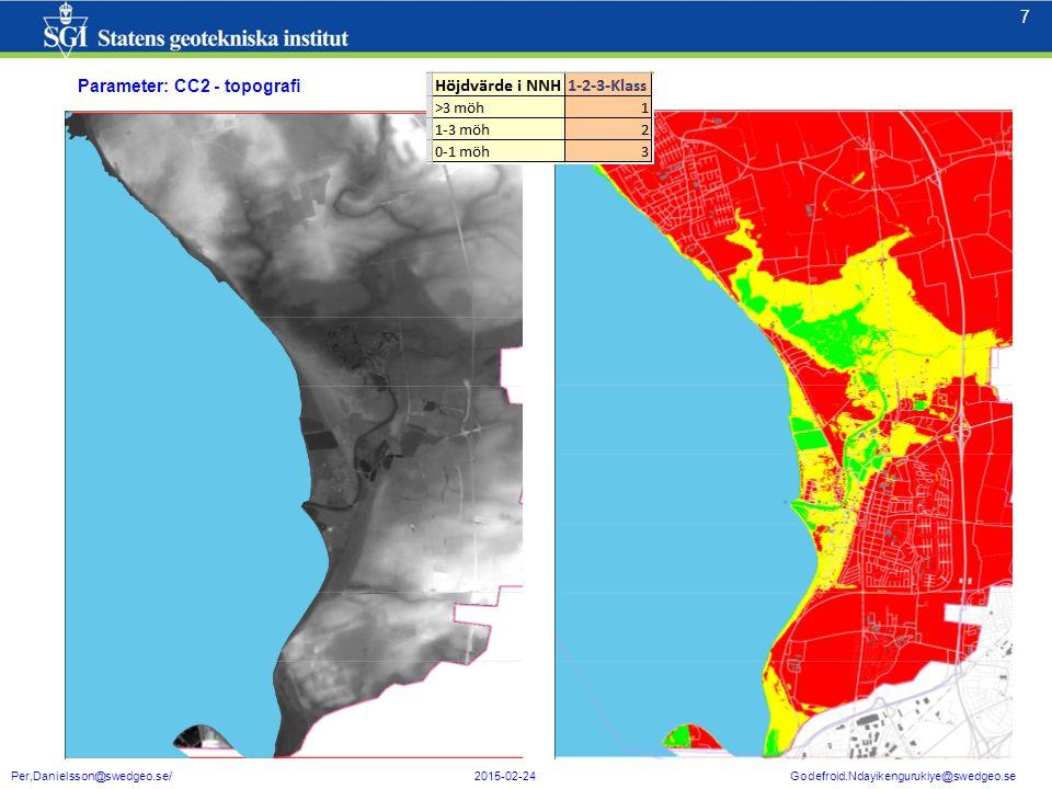 8 8 Per,Danielsson@swedgeo.se/ 2015-02-24 Godefroid.Ndayikengurukiye@swedgeo.se Särskilda utmaningar Exempel på parametrar där det fungerar GIS-tekniskt men där resultatet kan uppfattas som svårt att ta till sig/förstå inne-börden av (Ett område på 3,5km som ser ut med mer sårbarhet än kusten.