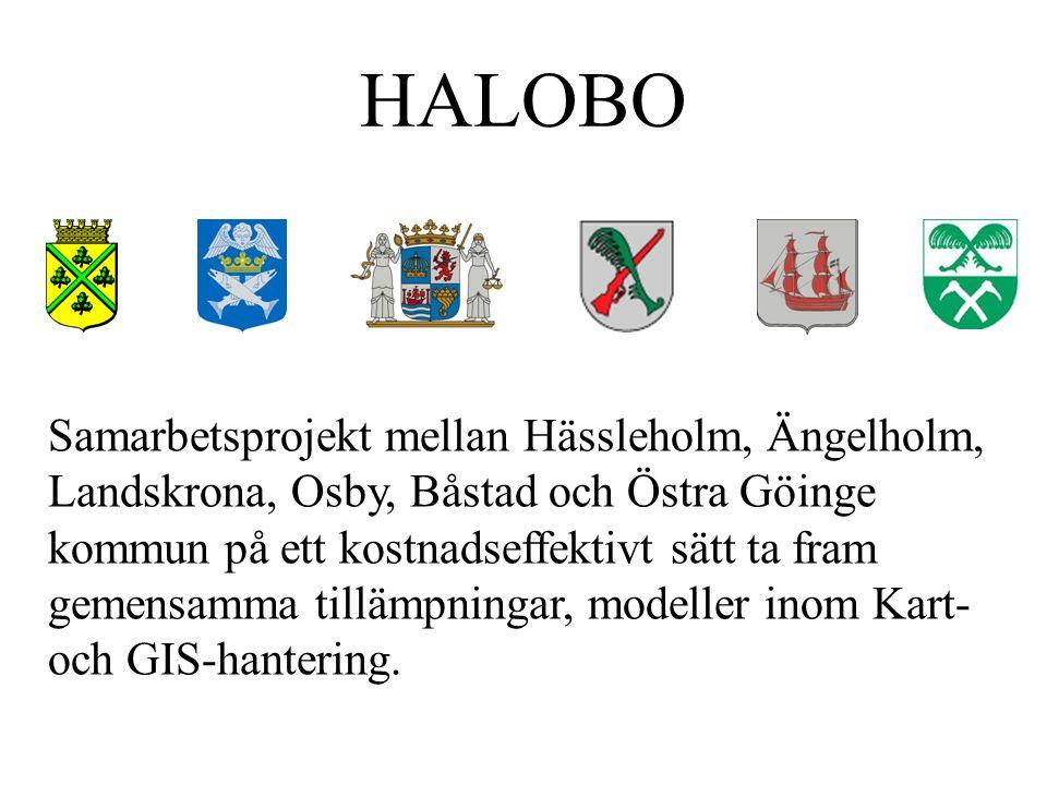 HALOBO Samarbetsprojekt mellan Hässleholm, Ängelholm, Landskrona, Osby, Båstad och Östra Göinge kommun på ett kostnadseffektivt sätt ta fram gemensamma tillämpningar, modeller inom Kart- och GIS-hantering.