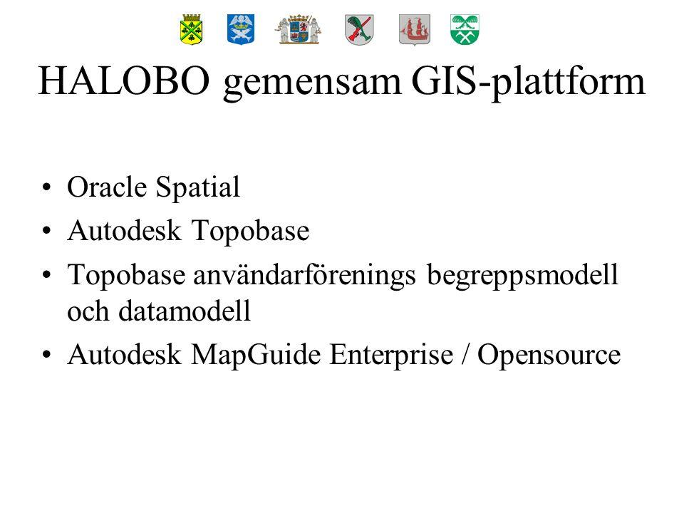 Oracle Spatial Autodesk Topobase Topobase användarförenings begreppsmodell och datamodell Autodesk MapGuide Enterprise / Opensource HALOBO gemensam GIS-plattform