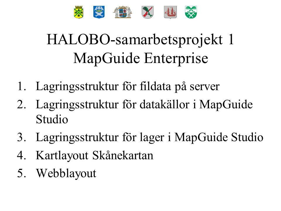1.Lagringsstruktur för fildata på server 2.Lagringsstruktur för datakällor i MapGuide Studio 3.Lagringsstruktur för lager i MapGuide Studio 4.Kartlayout Skånekartan 5.Webblayout HALOBO-samarbetsprojekt 1 MapGuide Enterprise