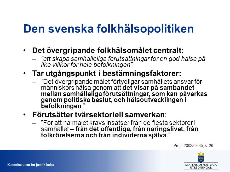 Kommissionen för jämlik hälsa Den svenska folkhälsopolitiken Det övergripande folkhälsomålet centralt: – att skapa samhälleliga förutsättningar för en god hälsa på lika villkor för hela befolkningen Tar utgångspunkt i bestämningsfaktorer: – Det övergripande målet förtydligar samhällets ansvar för människors hälsa genom att det visar på sambandet mellan samhälleliga förutsättningar, som kan påverkas genom politiska beslut, och hälsoutvecklingen i befolkningen. Förutsätter tvärsektoriell samverkan: – För att nå målet krävs insatser från de flesta sektorer i samhället – från det offentliga, från näringslivet, från folkrörelserna och från individerna själva. Prop.