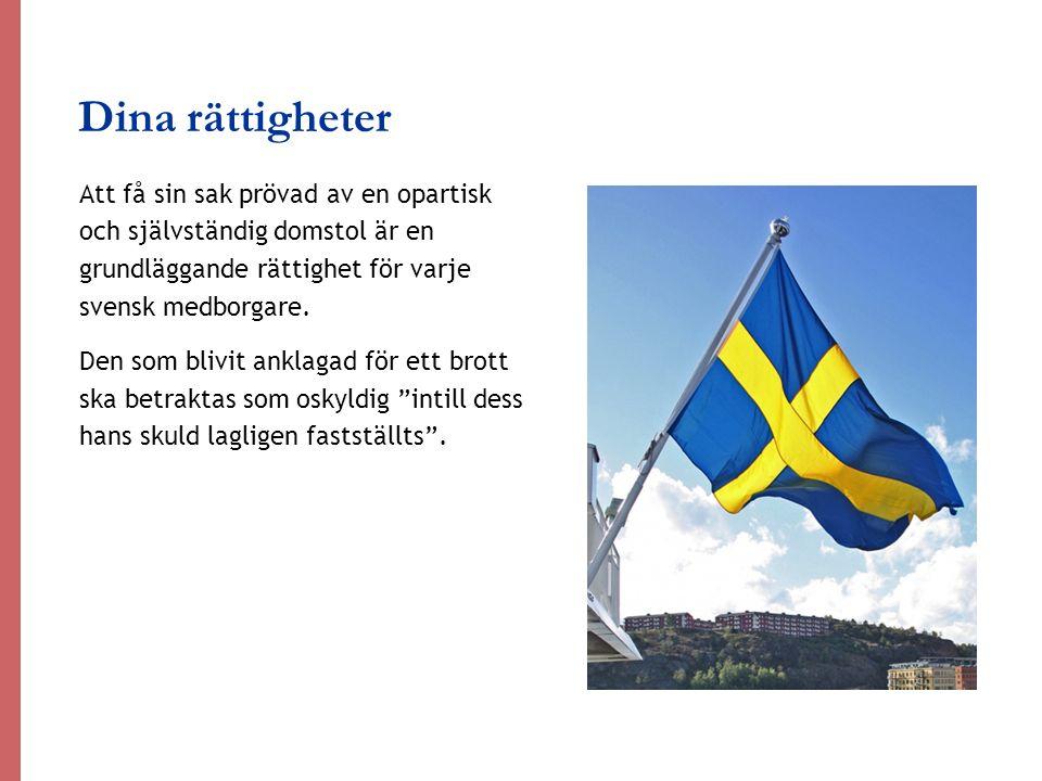 Dina rättigheter Att få sin sak prövad av en opartisk och självständig domstol är en grundläggande rättighet för varje svensk medborgare. Den som bliv