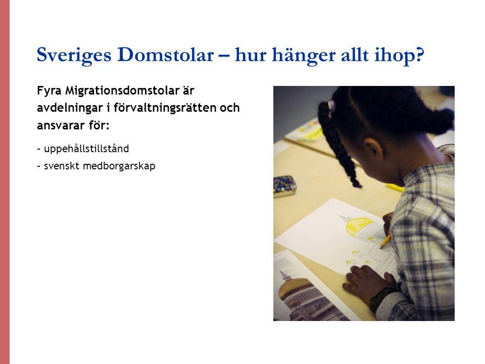 Sveriges Domstolar – hur hänger allt ihop? Fyra Migrationsdomstolar är avdelningar i förvaltningsrätten och ansvarar för: – uppehållstillstånd – svens