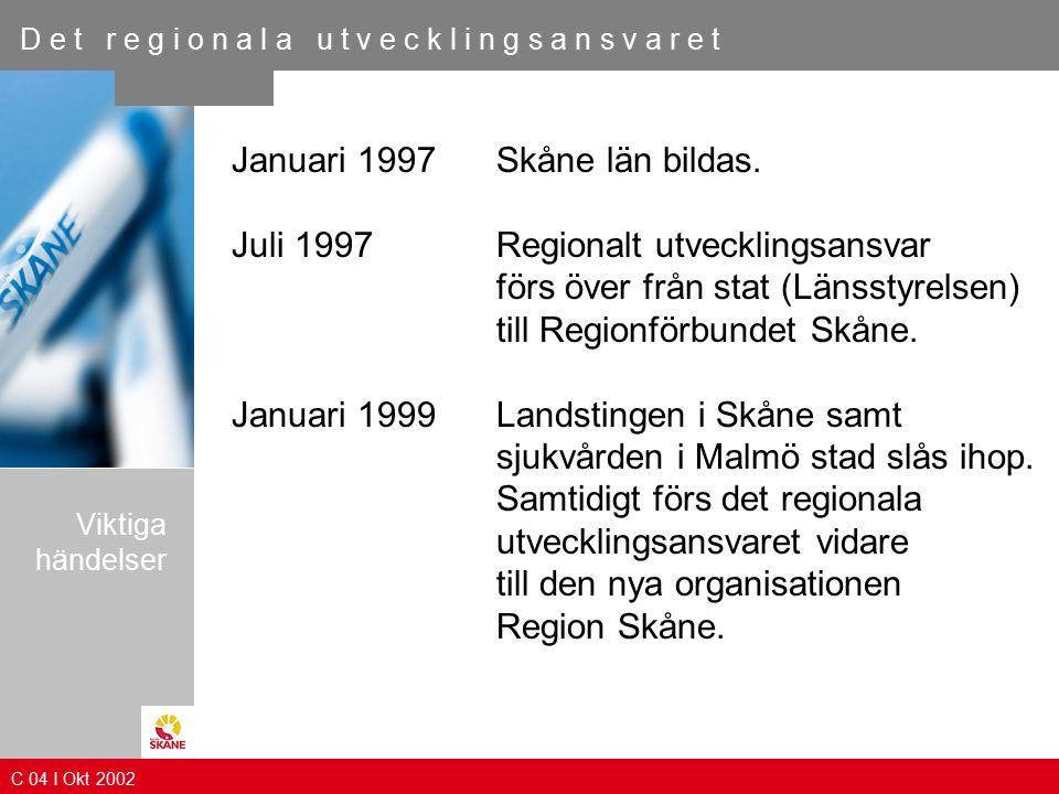 D e t r e g i o n a l a u t v e c k l i n g s a n s v a r e t Januari 1997 Skåne län bildas.