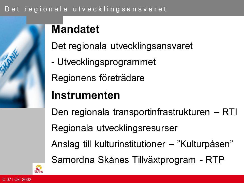 Skåneprocessen C 06 I Maj 2002 D e t r e g i o n a l a u t v e c k l i n g s a n s v a r e t C 08 I April 2003