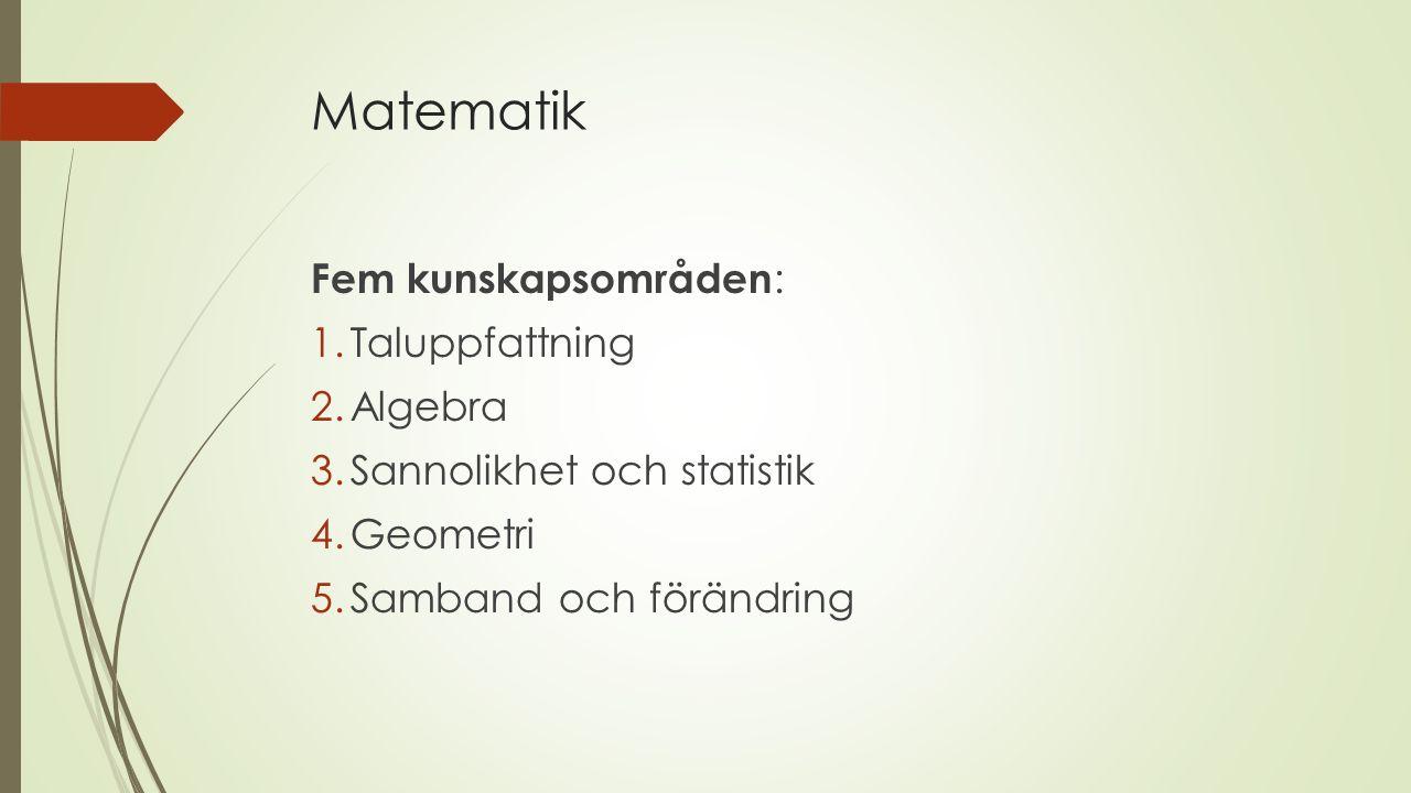 Matematik Fem kunskapsområden : 1.Taluppfattning 2.Algebra 3.Sannolikhet och statistik 4.Geometri 5.Samband och förändring