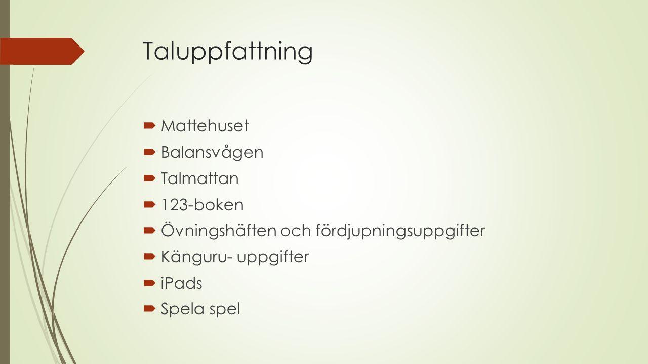 Taluppfattning  Mattehuset  Balansvågen  Talmattan  123-boken  Övningshäften och fördjupningsuppgifter  Känguru- uppgifter  iPads  Spela spel