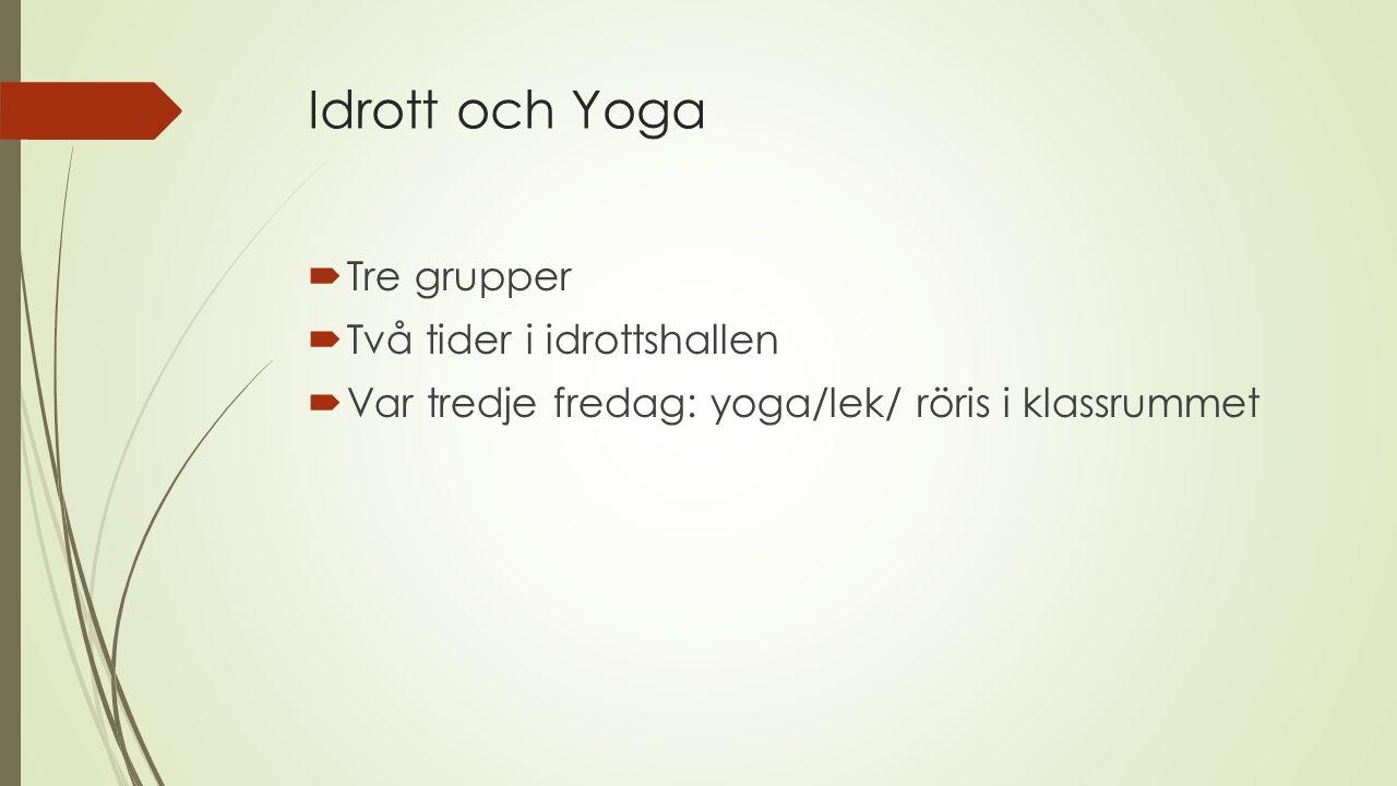 Idrott och Yoga  Tre grupper  Två tider i idrottshallen  Var tredje fredag: yoga/lek/ röris i klassrummet