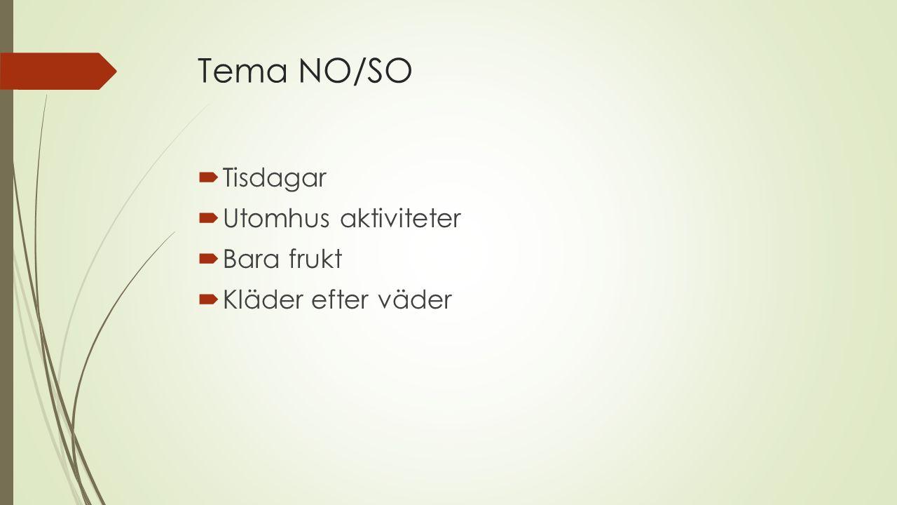 Tema NO/SO  Tisdagar  Utomhus aktiviteter  Bara frukt  Kläder efter väder