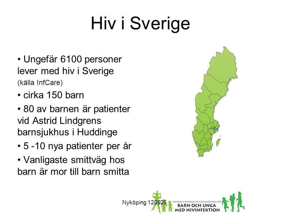 Hiv i Sverige Ungefär 6100 personer lever med hiv i Sverige (källa InfCare) cirka 150 barn 80 av barnen är patienter vid Astrid Lindgrens barnsjukhus i Huddinge 5 -10 nya patienter per år Vanligaste smittväg hos barn är mor till barn smitta Nyköping 120925