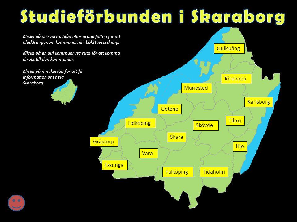 Klicka på de svarta, blåa eller gröna fälten för att bläddra igenom kommunerna i bokstavsordning.