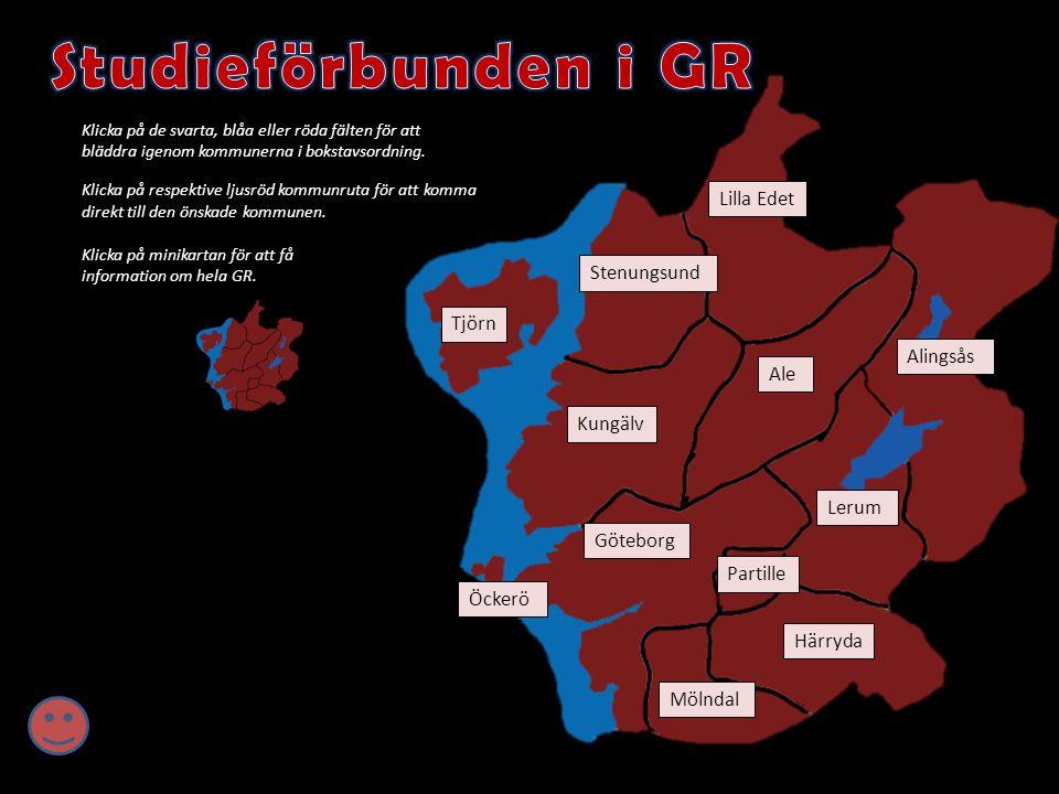 Klicka på de svarta, blåa eller röda fälten för att bläddra igenom kommunerna i bokstavsordning. Klicka på respektive ljusröd kommunruta för att komma