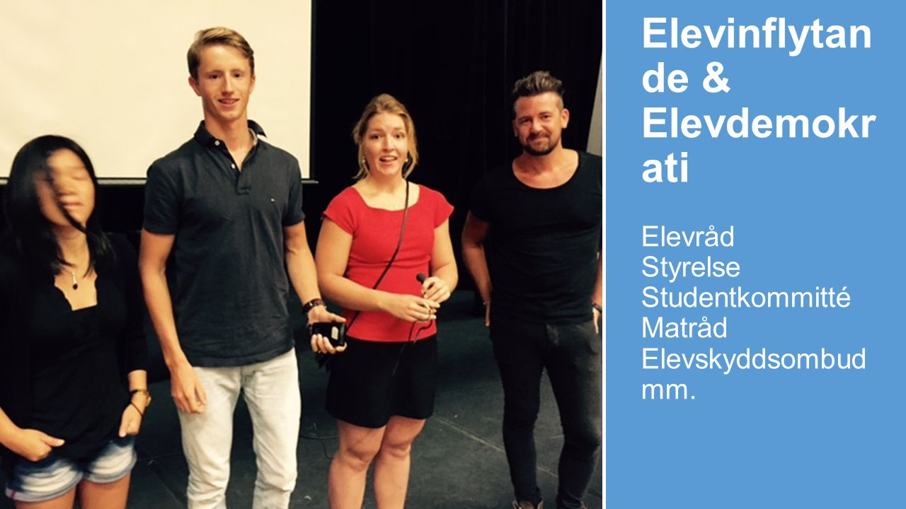 Elevinflytan de & Elevdemokr ati Elevråd Styrelse Studentkommitté Matråd Elevskyddsombud mm.