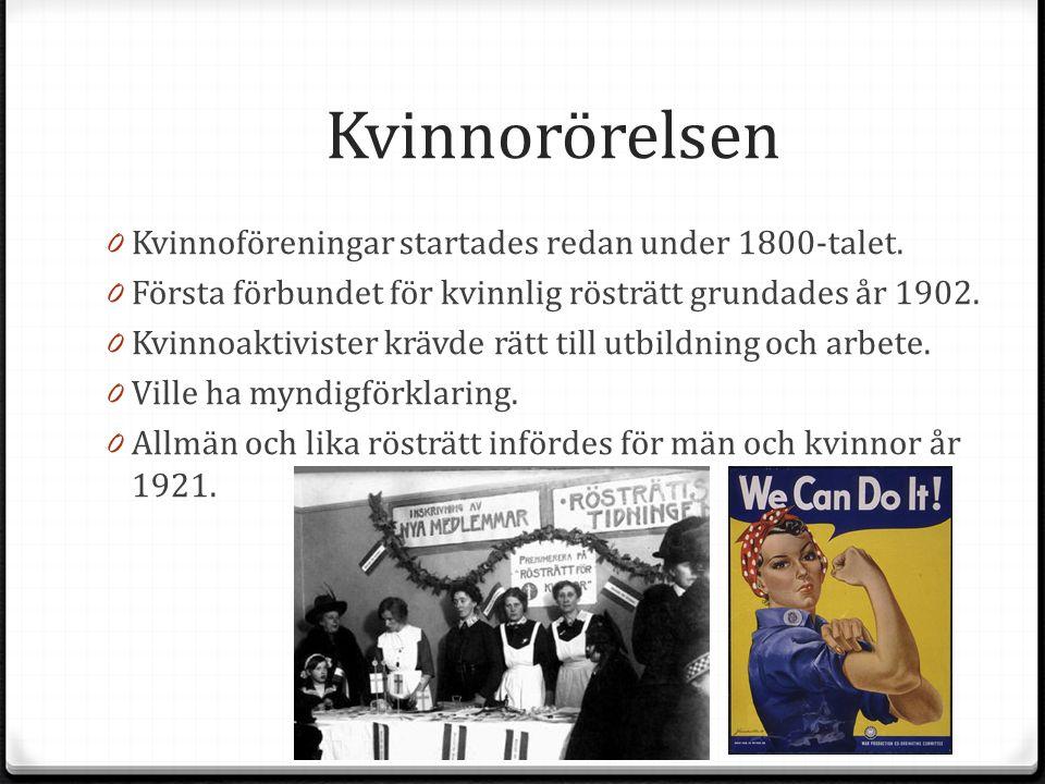 Kvinnorörelsen 0 Kvinnoföreningar startades redan under 1800-talet. 0 Första förbundet för kvinnlig rösträtt grundades år 1902. 0 Kvinnoaktivister krä