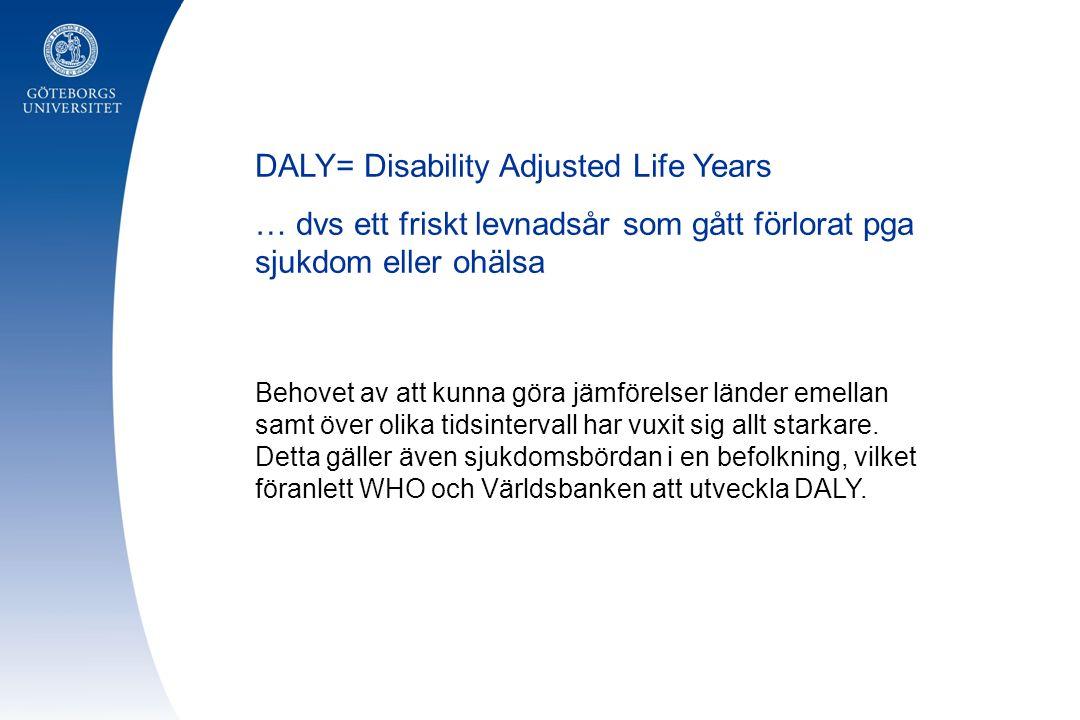 DALY= Disability Adjusted Life Years … dvs ett friskt levnadsår som gått förlorat pga sjukdom eller ohälsa Behovet av att kunna göra jämförelser länder emellan samt över olika tidsintervall har vuxit sig allt starkare.