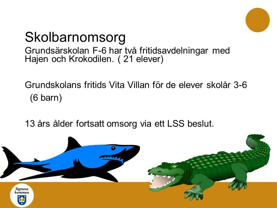 Skolbarnomsorg Grundsärskolan F-6 har två fritidsavdelningar med Hajen och Krokodilen.