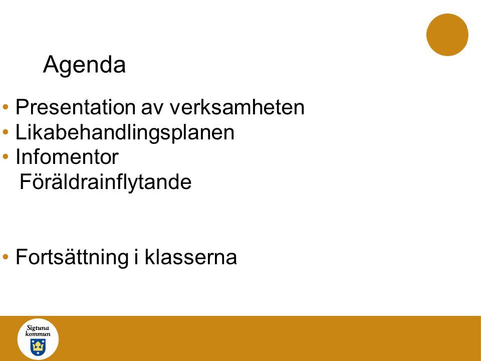 Agenda Presentation av verksamheten Likabehandlingsplanen Infomentor Föräldrainflytande Fortsättning i klasserna