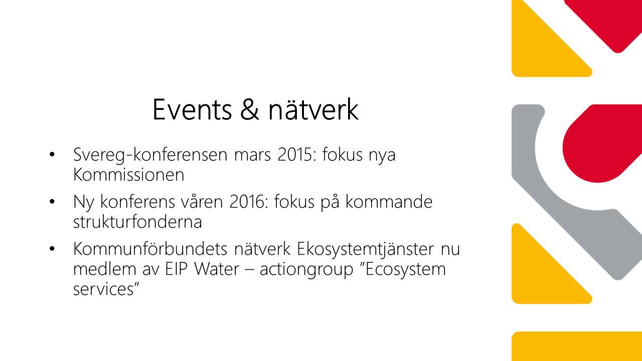 Svereg-konferensen mars 2015: fokus nya Kommissionen Ny konferens våren 2016: fokus på kommande strukturfonderna Kommunförbundets nätverk Ekosystemtjänster nu medlem av EIP Water – actiongroup Ecosystem services Events & nätverk