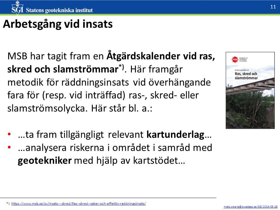 mats.oberg@swedgeo.se/SGI/2014-05-28 11 Arbetsgång vid insats MSB har tagit fram en Åtgärdskalender vid ras, skred och slamströmmar *).