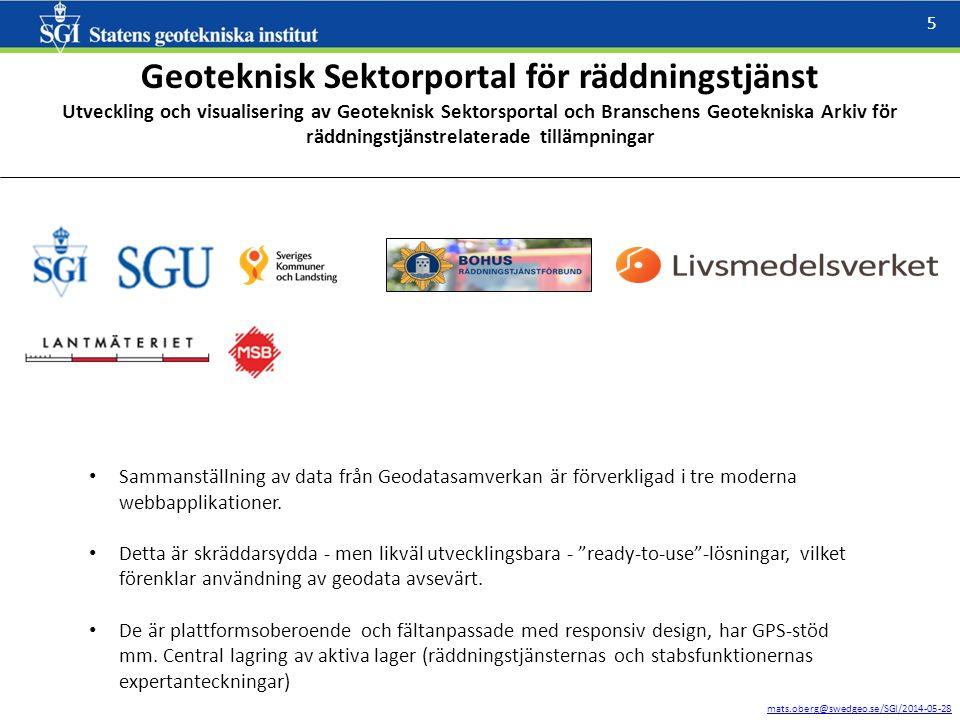 mats.oberg@swedgeo.se/SGI/2014-05-28 5 Geoteknisk Sektorportal för räddningstjänst Utveckling och visualisering av Geoteknisk Sektorsportal och Branschens Geotekniska Arkiv för räddningstjänstrelaterade tillämpningar Sammanställning av data från Geodatasamverkan är förverkligad i tre moderna webbapplikationer.