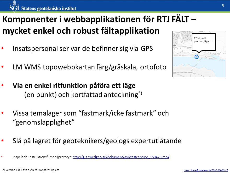 mats.oberg@swedgeo.se/SGI/2014-05-28 9 Komponenter i webbapplikationen för RTJ FÄLT – mycket enkel och robust fältapplikation Insatspersonal ser var de befinner sig via GPS LM WMS topowebbkartan färg/gråskala, ortofoto Via en enkel ritfunktion påföra ett läge (en punkt) och kortfattad anteckning *) Vissa temalager som fastmark/icke fastmark och genomsläpplighet Slå på lagret för geoteknikers/geologs expertutlåtande Inspelade instruktionsfilmer (prototyp http://gis.swedgeo.se/dokument/avi/testcapture_150426.mp4)http://gis.swedgeo.se/dokument/avi/testcapture_150426.mp4 RTJ aktuell position, läge.....