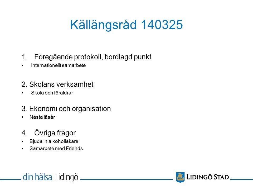 Källängsråd 140325 1.Föregående protokoll, bordlagd punkt Internationellt samarbete 2.