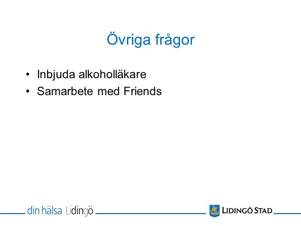 Övriga frågor Inbjuda alkoholläkare Samarbete med Friends