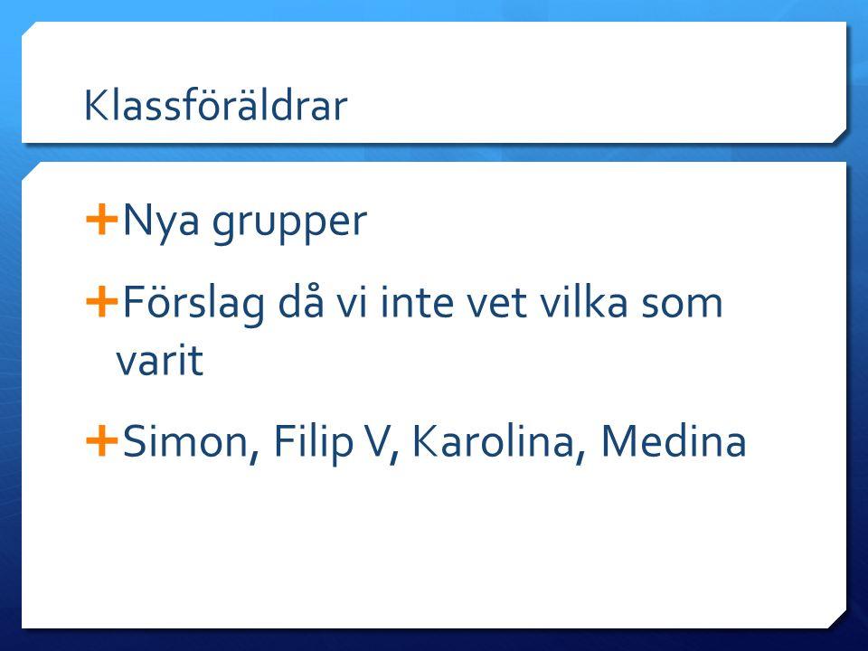 Klassföräldrar  Nya grupper  Förslag då vi inte vet vilka som varit  Simon, Filip V, Karolina, Medina