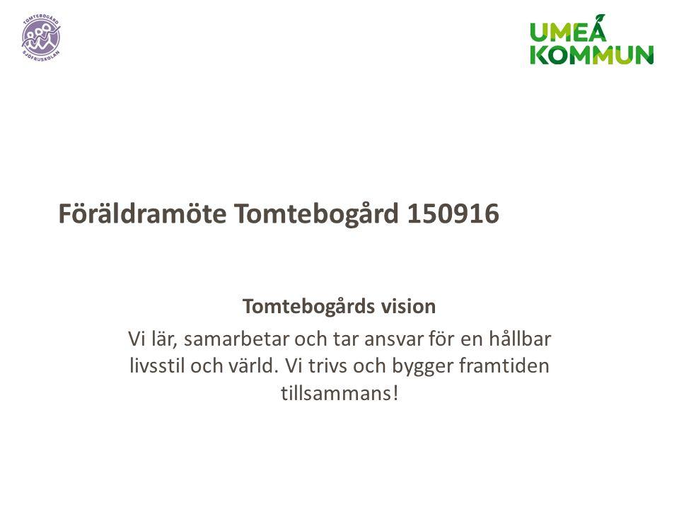 Föräldramöte Tomtebogård 150916 Tomtebogårds vision Vi lär, samarbetar och tar ansvar för en hållbar livsstil och värld.