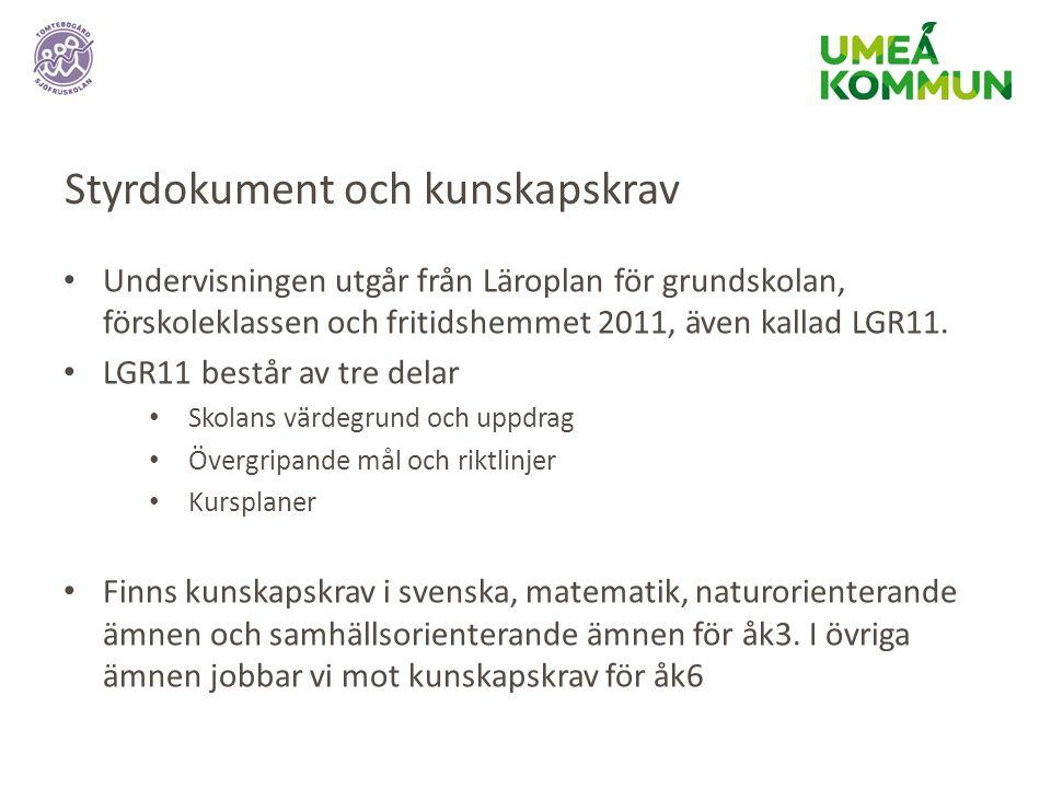 Styrdokument och kunskapskrav Undervisningen utgår från Läroplan för grundskolan, förskoleklassen och fritidshemmet 2011, även kallad LGR11.