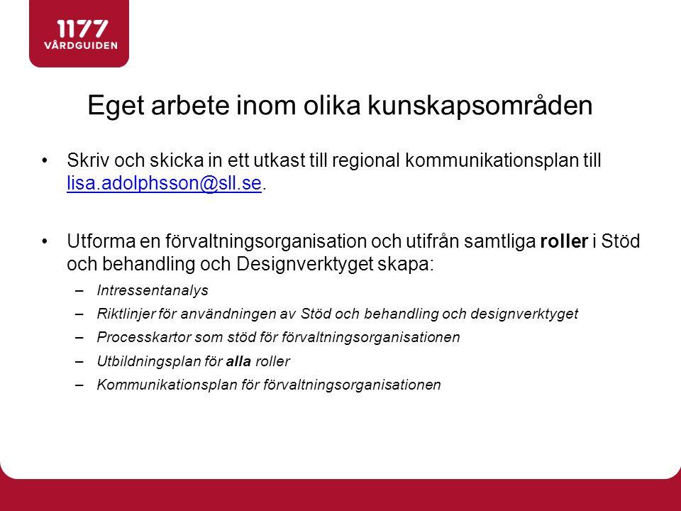 Skriv och skicka in ett utkast till regional kommunikationsplan till lisa.adolphsson@sll.se. lisa.adolphsson@sll.se Utforma en förvaltningsorganisatio