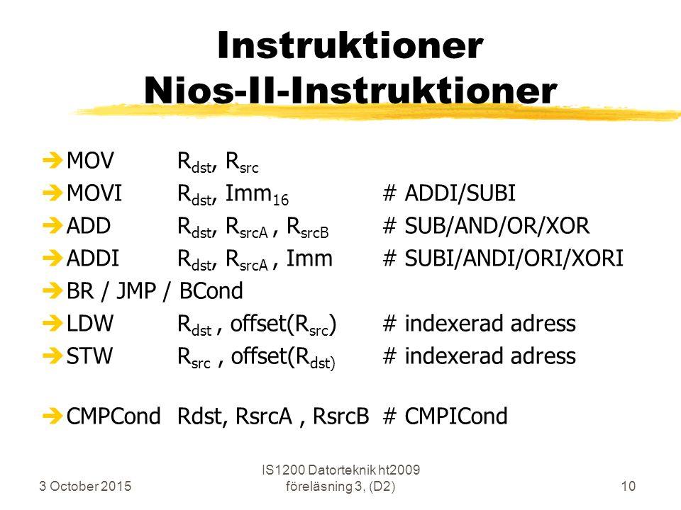3 October 2015 IS1200 Datorteknik ht2009 föreläsning 3, (D2)10 Instruktioner Nios-II-Instruktioner èMOVR dst, R src èMOVIR dst, Imm 16 # ADDI/SUBI èAD