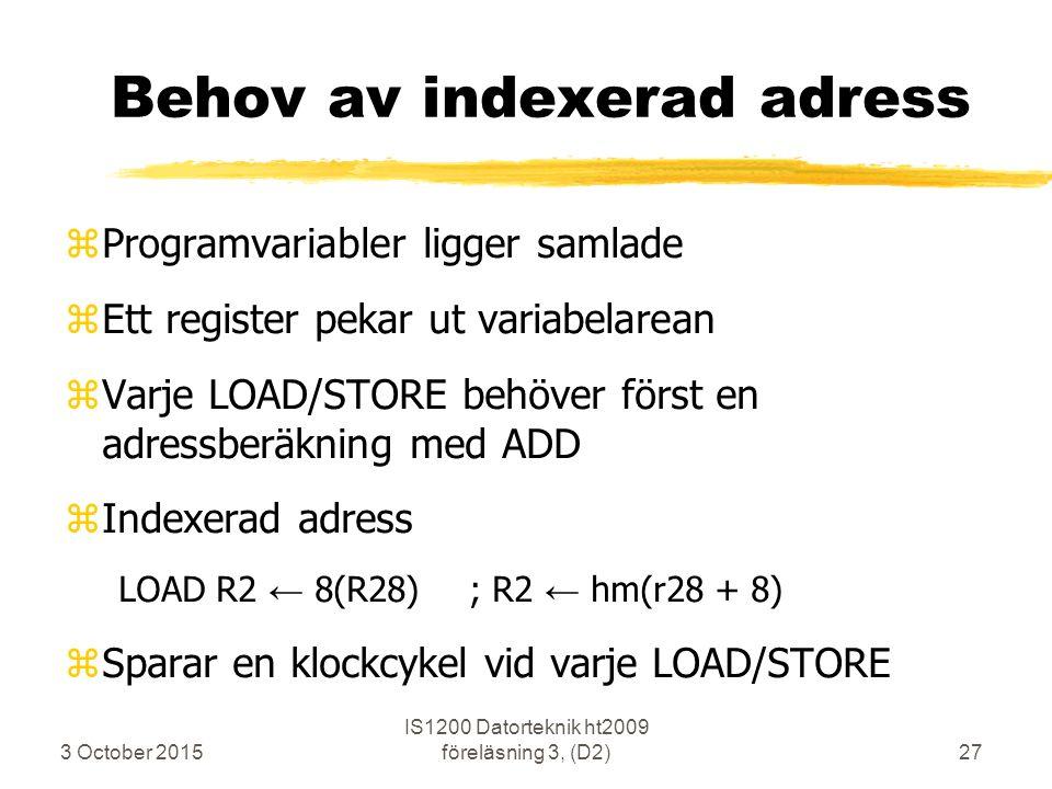 3 October 2015 IS1200 Datorteknik ht2009 föreläsning 3, (D2)27 Behov av indexerad adress zProgramvariabler ligger samlade zEtt register pekar ut varia