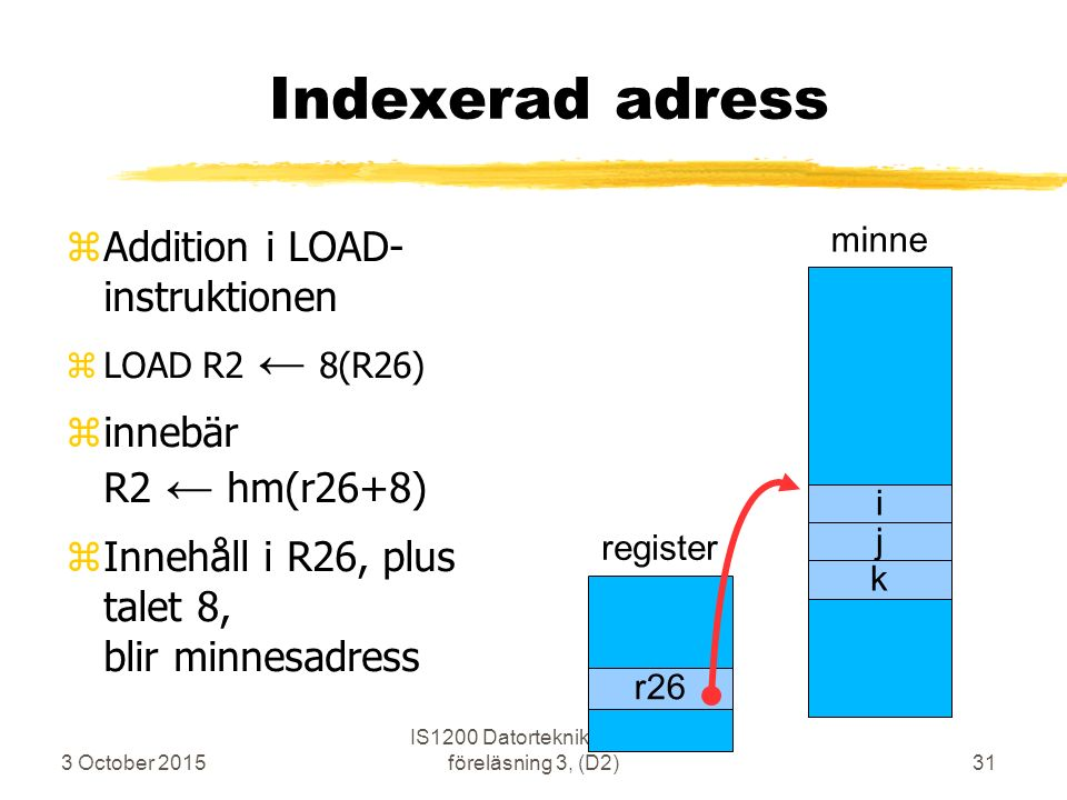 3 October 2015 IS1200 Datorteknik ht2009 föreläsning 3, (D2)31 Indexerad adress zAddition i LOAD- instruktionen zLOAD R2 ← 8(R26) zinnebär R2 ← hm(r26
