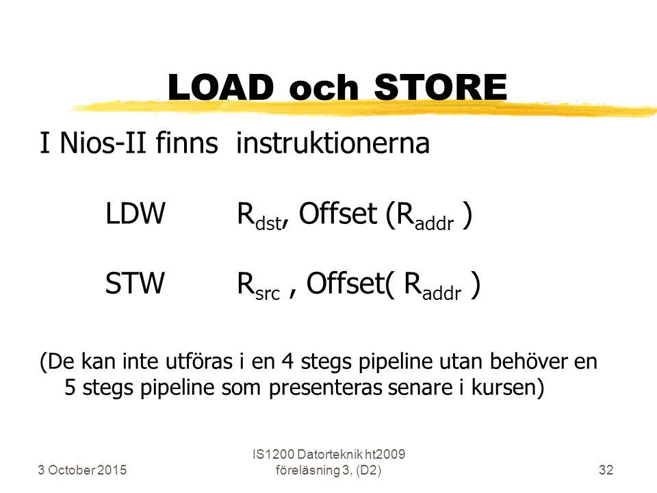 3 October 2015 IS1200 Datorteknik ht2009 föreläsning 3, (D2)32 LOAD och STORE I Nios-II finns instruktionerna LDWR dst, Offset (R addr ) STW R src, Of