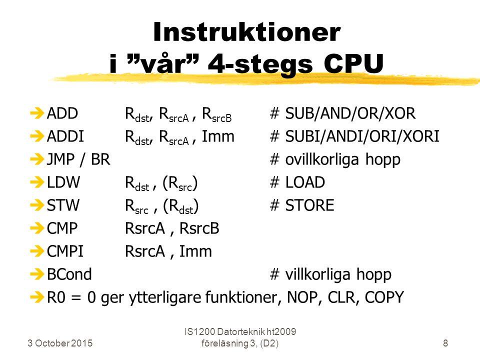 """3 October 2015 IS1200 Datorteknik ht2009 föreläsning 3, (D2)8 Instruktioner i """"vår"""" 4-stegs CPU èADDR dst, R srcA, R srcB # SUB/AND/OR/XOR èADDIR dst,"""