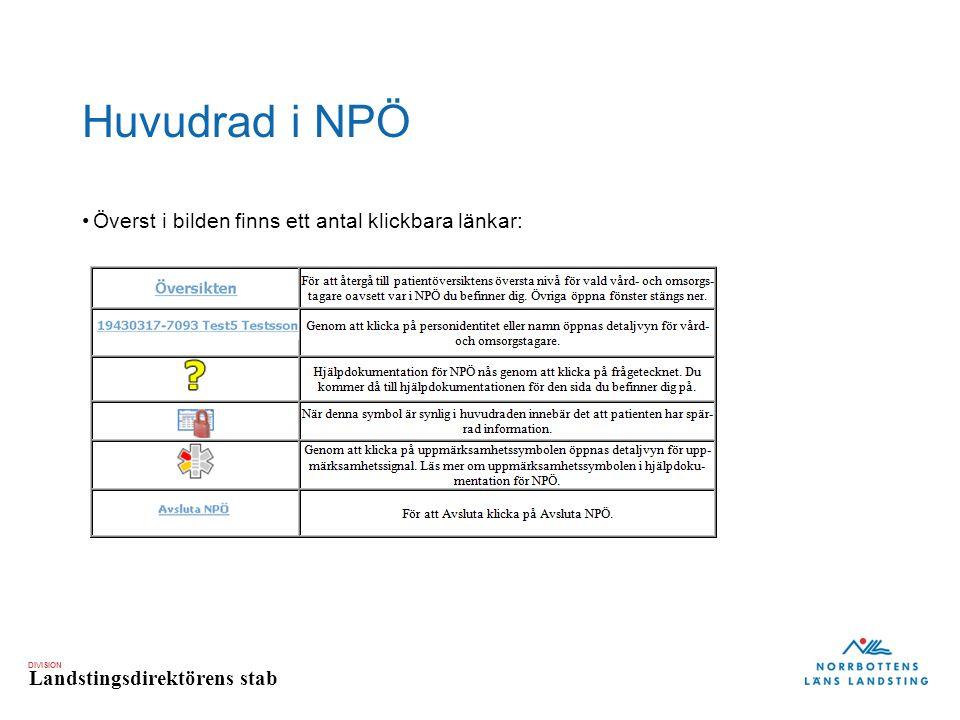 DIVISION Landstingsdirektörens stab Huvudrad i NPÖ Överst i bilden finns ett antal klickbara länkar: